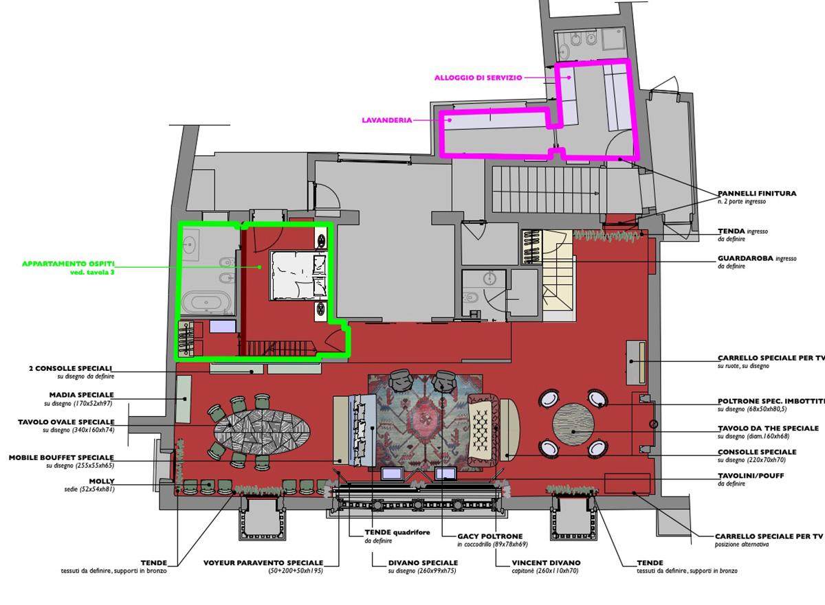 Planimetria del piano nobile