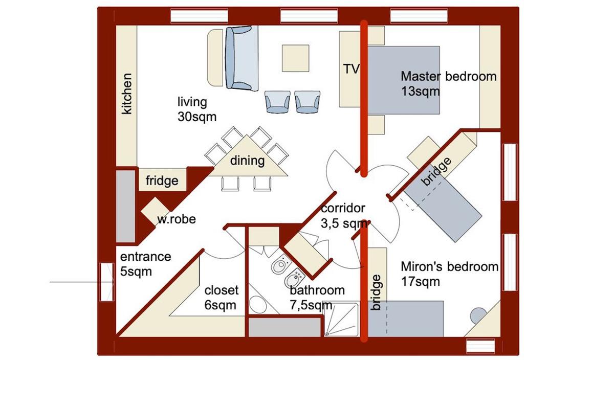 Appartamento_1: variante-1 layout arredi