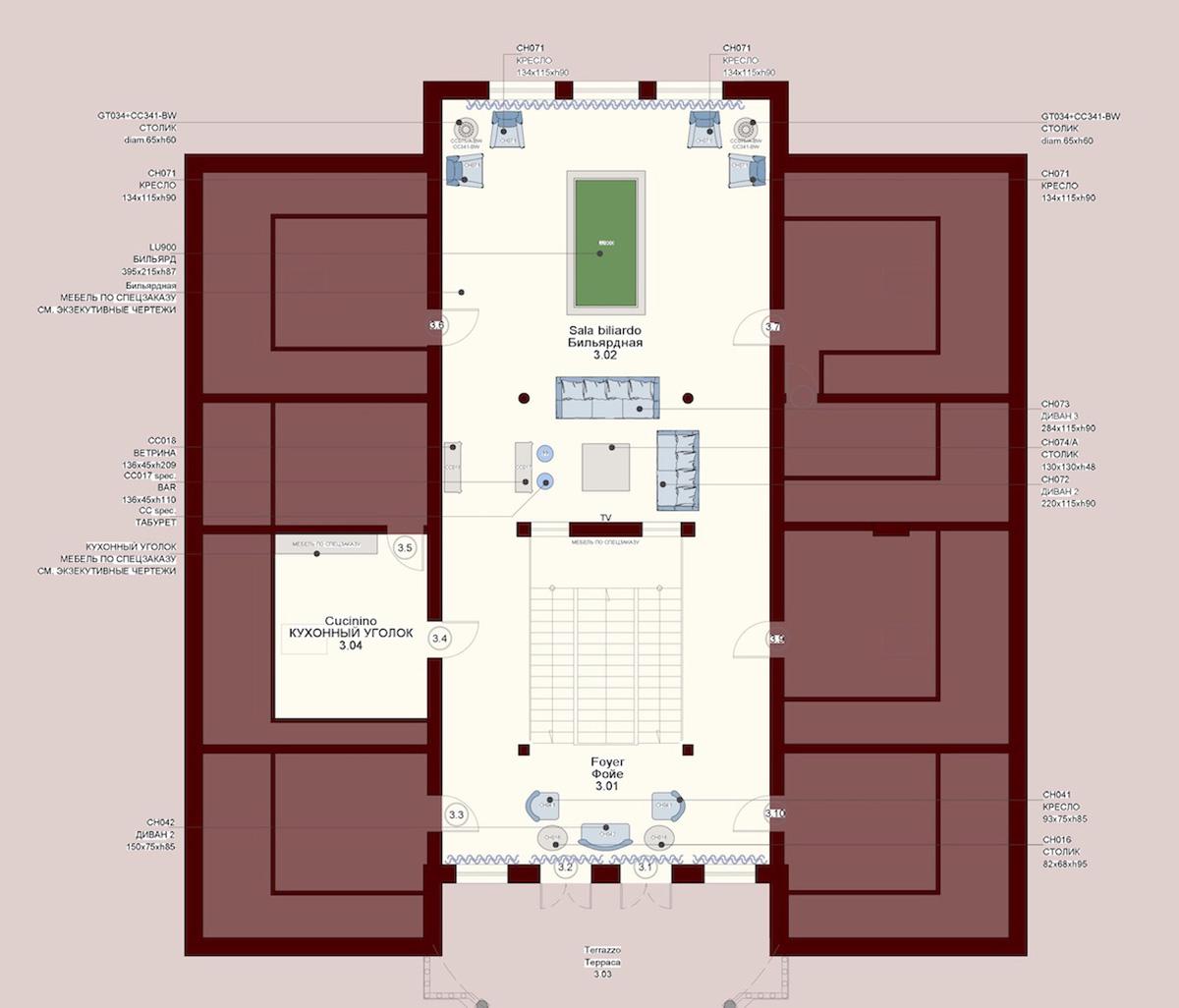 Planimetria di progetto piano 3