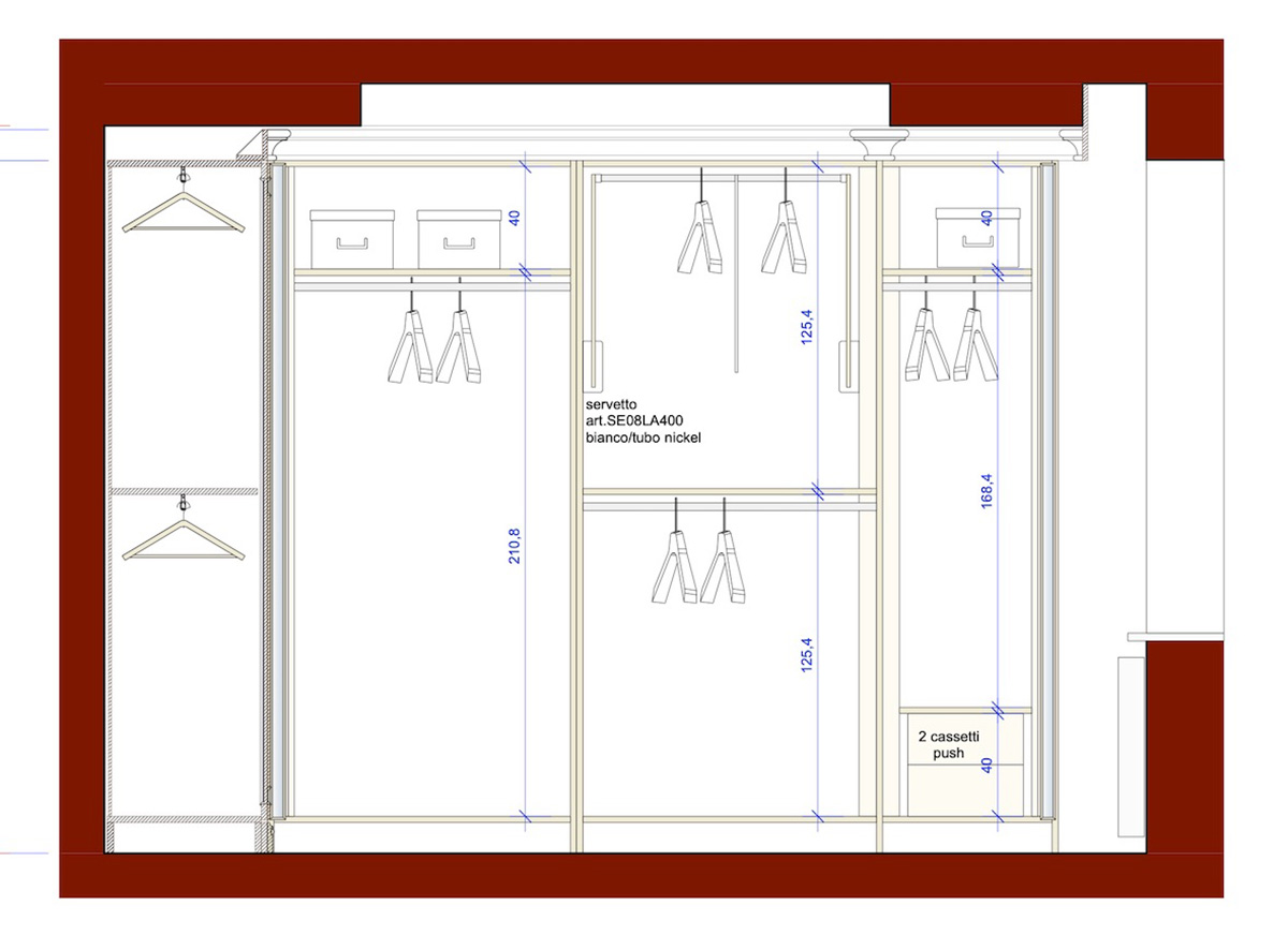 Gli interni del guardaroba
